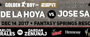 DIEGO DE LA HOYA RETURNS IN MAIN EVENT ON GOLDEN BOY BOXING ON ESPN FACING TOUGH CHALLENGER JOSE SALGADO