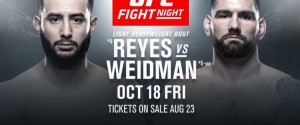 UFC FIGHT NIGHT ON ESPN®: REYES vs. WEIDMAN IS SET FOR BOSTON