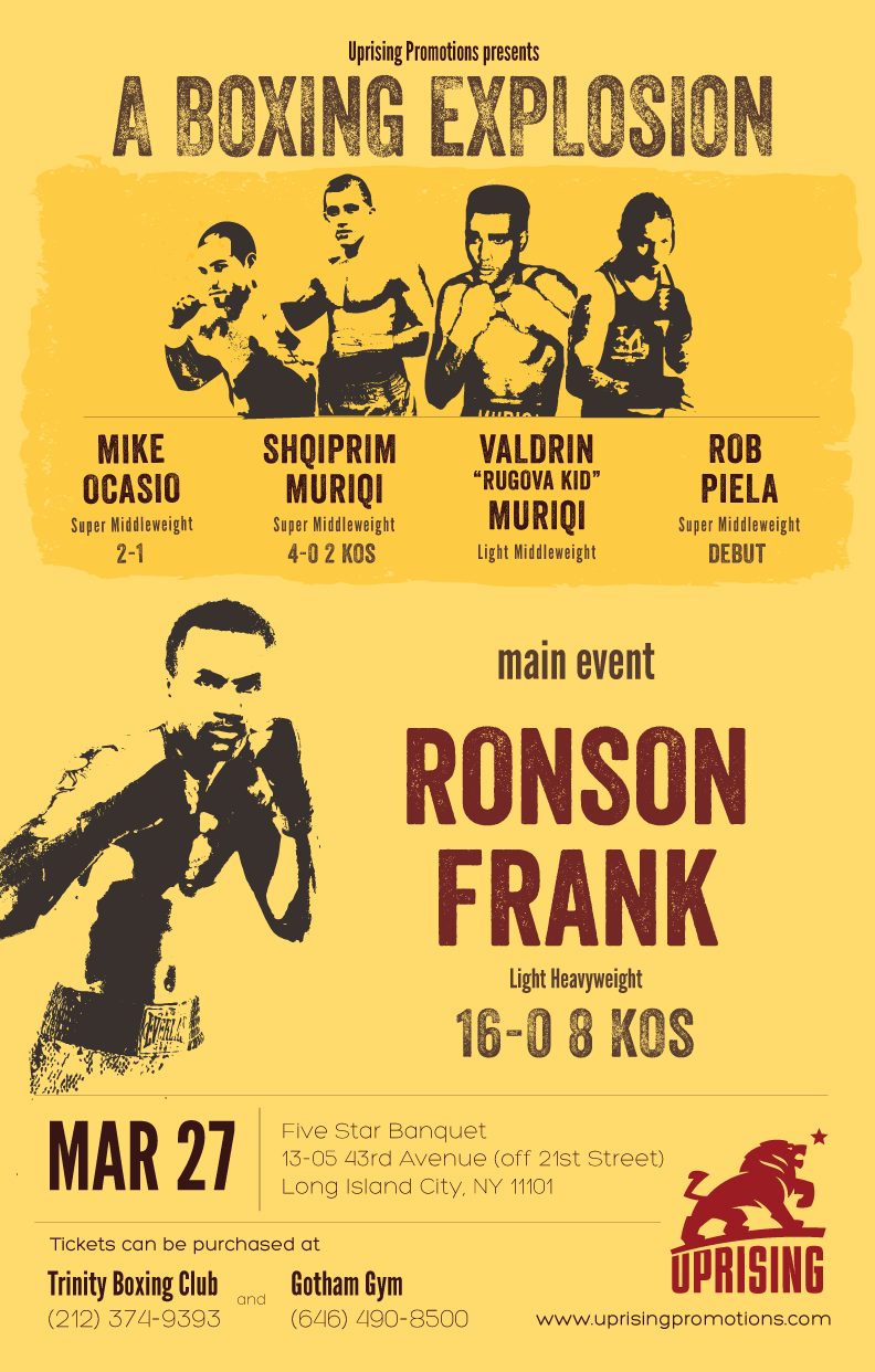 Southpaw Ronson Frank Headlines Uprising Promotions Card