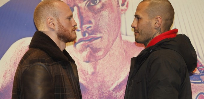 BOXING PRESS CONFERENCE STRATFORD CIRCUS, STRATFORD,LONDON PIC;LAWRENCE LUSTIG GEORGE GROVES COMES FACE TO FACE WITH OPPONENT ANDREA DI LUISA AS THEY PREPARE TO MEET AT THE COPPER BOX ARENA,OLYMPIC PARK,STRATFORD ON SATURDAY(JAN 30TH )