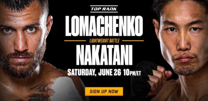 Sign up for ESPN + to watchLomachenko-Nakatani-June-26